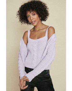 Womens Cable Vest - lilac, Lilac