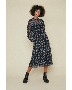Womens Floral Frill Yoke Printed Mesh Smock Dress - black, Black