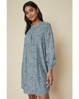 Womens Shirred Yoke Printed Dress - khaki, Khaki