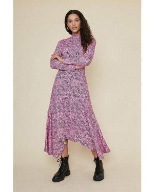 Womens Hanky Hem Printed Midi Dress - pink, Pink