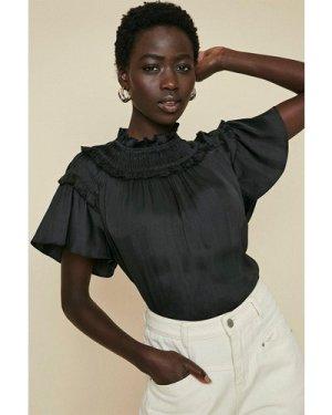 Womens Satin Frill Shell Top - black, Black