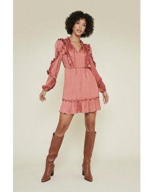 Womens Satin Frill Skater Dress - rust, Rust
