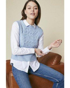 Womens Cosy stitch Sparkle Button Tank - pale blue, Pale Blue