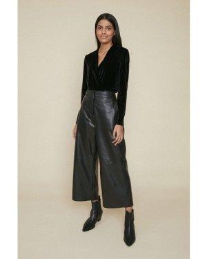Womens Velvet Wrap Body - black, Black