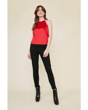 Womens Tassel Halterneck Top - red, Red