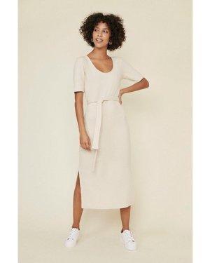 Womens Soft Rib Belted Midi Dress - natural, Natural