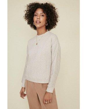 Womens Cable Sweater - ecru, Ecru