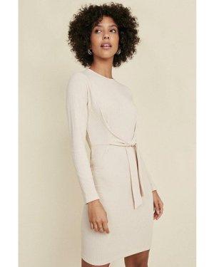 Womens Soft Rib Tie Front Tube Dress - natural, Natural
