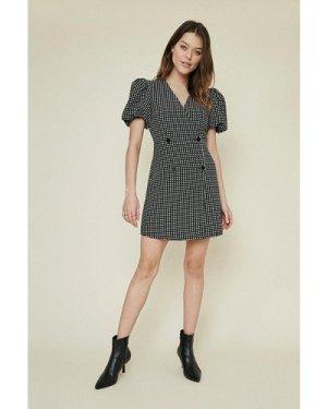 Womens Jacquard Button Front Shift Dress - blackwhite, Blackwhite