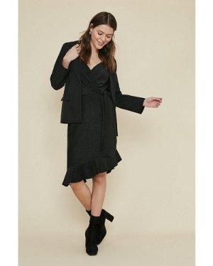 Womens Metallic Pleat Ruffle Wrap Dress - black, Black