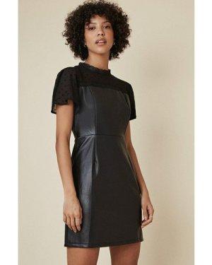 Womens Pu Lace Dress - black, Black