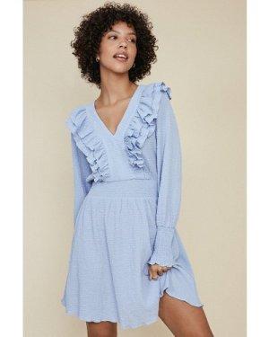 Womens Ruffle Skater Dress - light blue, Light Blue