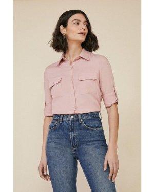 Womens Long Sleeve Cargo Shirt - soft pink, Soft Pink