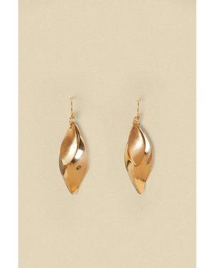 Womens Twizzle Leaf Earrings - gold, Gold