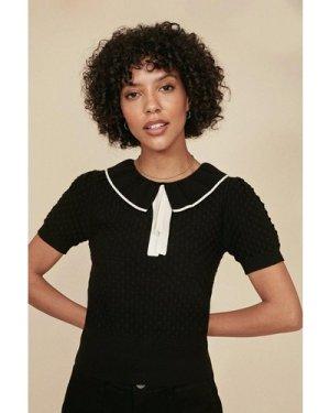 Womens Frill Neck Stitch T Shirt - black, Black