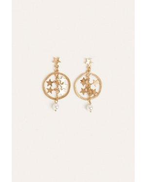 Womens Celestial Hoop Earring - gold, Gold