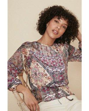 Womens Printed Chiffon Long Sleeve Blouse - multi, Multi