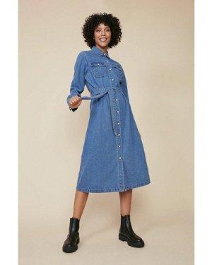 Womens Denim Midi Shirt Dress - mid wash, Mid Wash