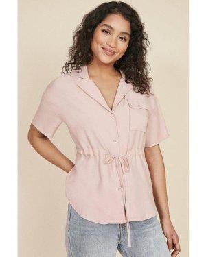 Womens Tie Waist Shirt - soft pink, Soft Pink