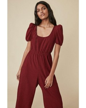 Womens Check Scoop Neck Jumpsuit - red, Red