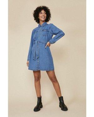 Womens Belted Denim Mini Dress - mid wash, Mid Wash