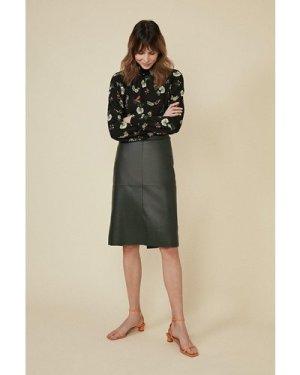 Womens Floral Shirred Neckline Blouse - black, Black