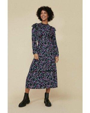 Womens Black Ditsy Frill Front Midi Dress, Black