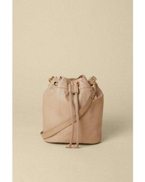 Womens Leather Bucket Bag - mink, Mink