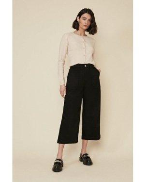 Womens Adeline Cropped Wide Leg Jean - black, Black