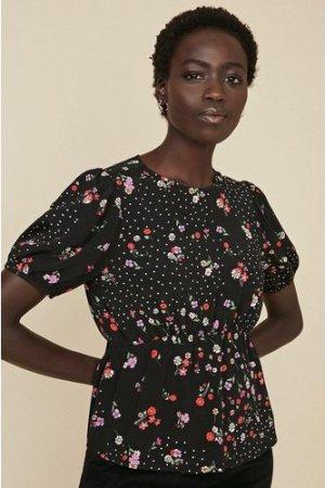 Womens Ditsy and Spot Tea Top - black, Black