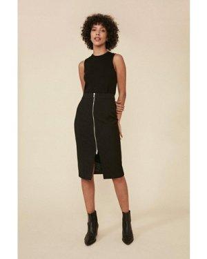 Womens Premium Zip Front Pencil Skirt - black, Black