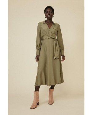 Womens Utility Wrap Dress - khaki, Khaki
