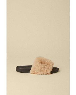 Womens Fluffy Faux Fur Slider - camel, Camel