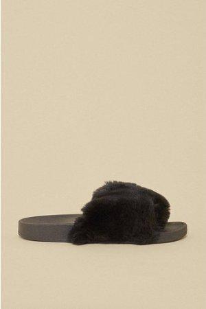 Womens Fluffy Slider - black, Black