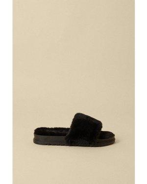 Womens Super Fluffy Faux Fur Chunky Slider - black, Black