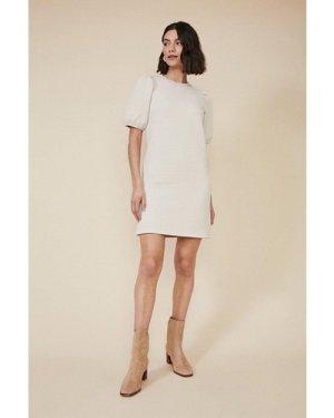 Womens Quilted Sweat Dress - ecru, Ecru