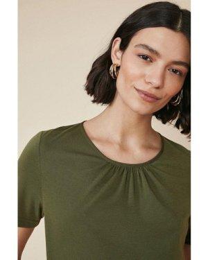 Womens Gathered Woven Back Jersey T Shirt - khaki, Khaki