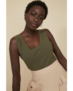 Womens Diamond Stitch Vest - khaki, Khaki