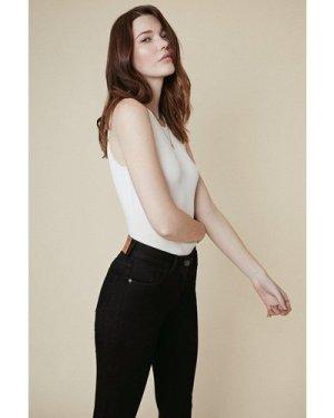 Womens Lily Organic High Rise Short Skinny Jean - black, Black