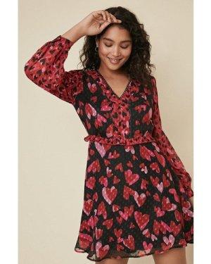 Womens Heart Mix Print Tea Dress - multi, Multi