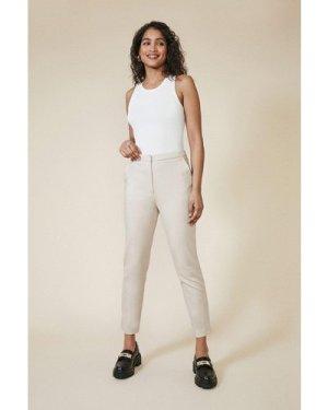 Womens Slim Leg Cotton Sateen Trouser - stone, Stone
