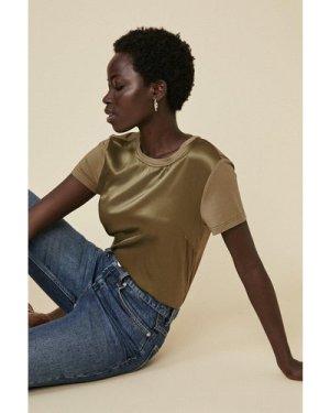 Womens Silk Front T Shirt - khaki, Khaki