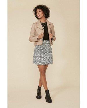 Womens Belted Animal Mini Skirt - blackwhite, Blackwhite