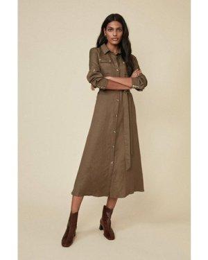 Womens Linen Mix Pocket Shirtdress - khaki, Khaki
