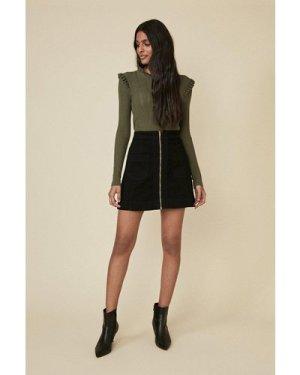 Womens Zip Through Pocket Detail Skirt - black, Black