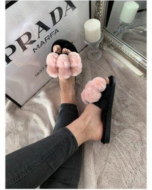 Pink Faux-Fur Pom-Pom Slider Slippers size: L, colour: Pink