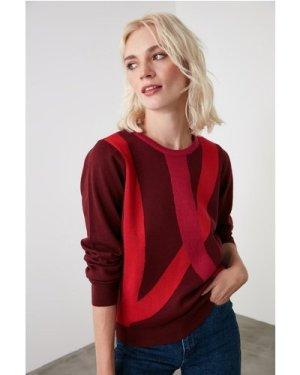 Trendyol Little Mistress x Trendyol Burgundy Colour Block Knitwear Swe