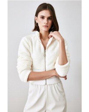 Trendyol Little Mistress x Trendyol White Fleece Half Zip Jacket size: