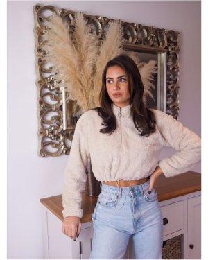 Trendyol Fleece Half Zip Jumper size: M, colour: Beige