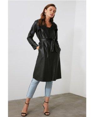 Trendyol Little Mistress x Trendyol Black PU Tie Trench Coat size: 10